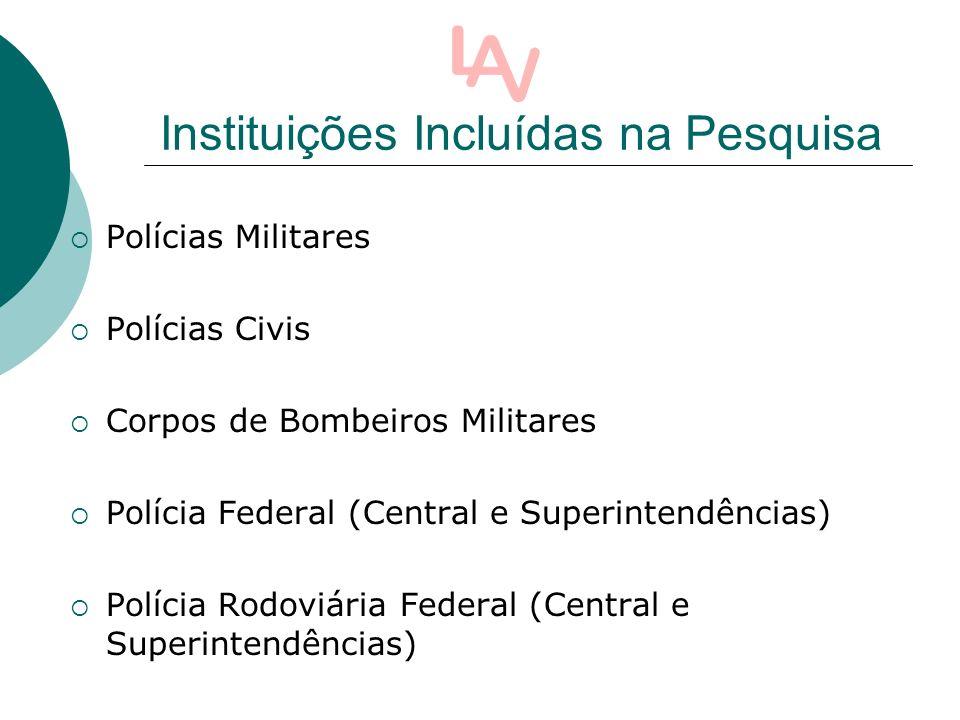 Instituições Incluídas na Pesquisa Polícias Militares Polícias Civis Corpos de Bombeiros Militares Polícia Federal (Central e Superintendências) Polícia Rodoviária Federal (Central e Superintendências)