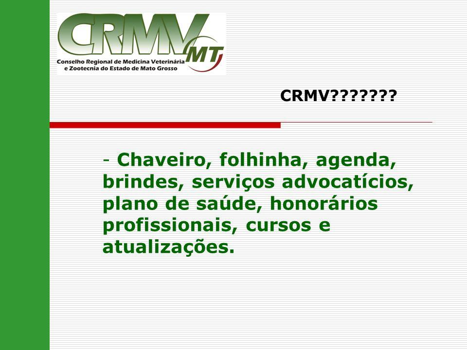 - Chaveiro, folhinha, agenda, brindes, serviços advocatícios, plano de saúde, honorários profissionais, cursos e atualizações. CRMV???????