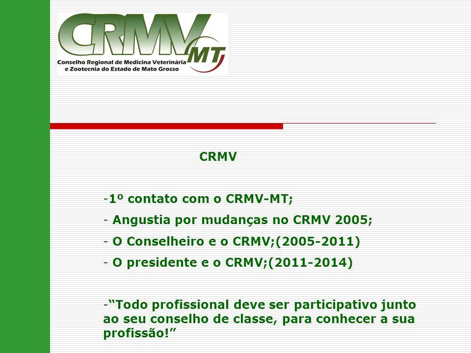 CRMV -1º contato com o CRMV-MT; - Angustia por mudanças no CRMV 2005; - O Conselheiro e o CRMV;(2005-2011) - O presidente e o CRMV;(2011-2014) -Todo p