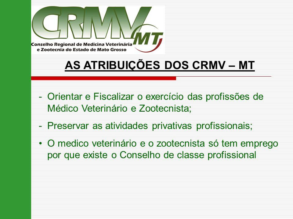 AS ATRIBUIÇÕES DOS CRMV – MT -Orientar e Fiscalizar o exercício das profissões de Médico Veterinário e Zootecnista; -Preservar as atividades privativa