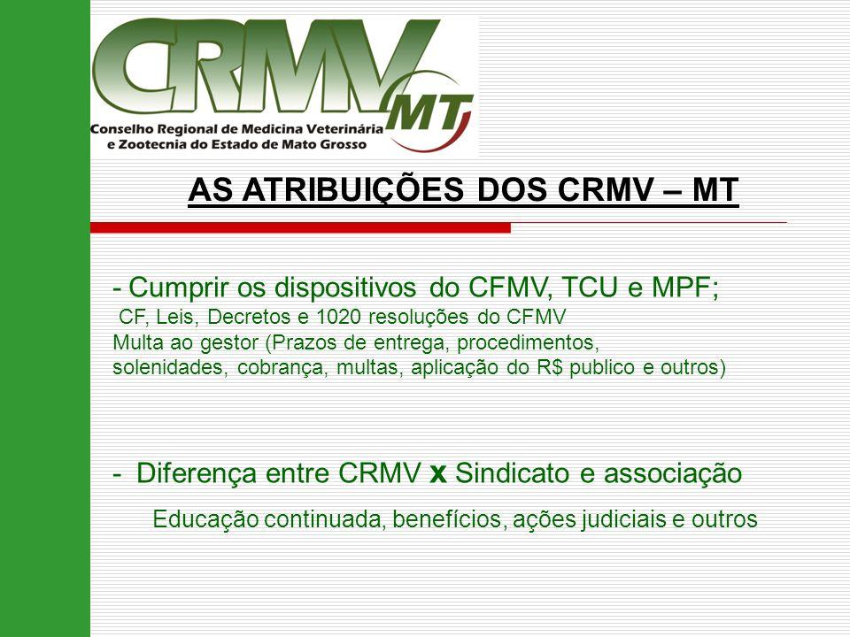 AS ATRIBUIÇÕES DOS CRMV – MT -Cumprir os dispositivos do CFMV, TCU e MPF; CF, Leis, Decretos e 1020 resoluções do CFMV Multa ao gestor (Prazos de entr