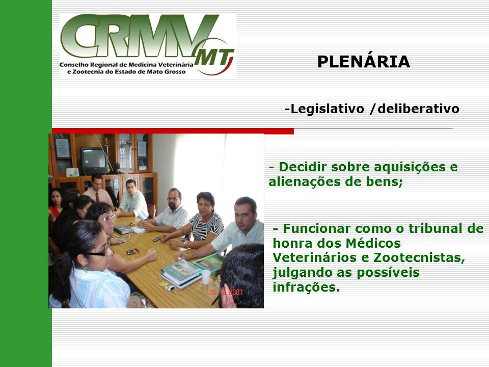 PLENÁRIA -Legislativo /deliberativo - Decidir sobre aquisições e alienações de bens; - Funcionar como o tribunal de honra dos Médicos Veterinários e Z