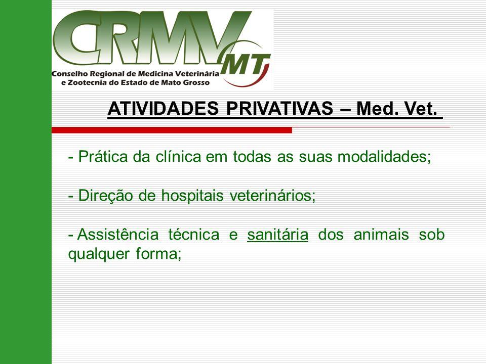 ATIVIDADES PRIVATIVAS – Med. Vet. - Prática da clínica em todas as suas modalidades; - Direção de hospitais veterinários; - Assistência técnica e sani