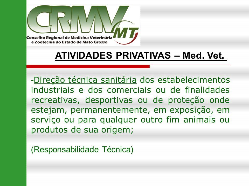ATIVIDADES PRIVATIVAS – Med. Vet. -D ireção técnica sanitária dos estabelecimentos industriais e dos comerciais ou de finalidades recreativas, desport