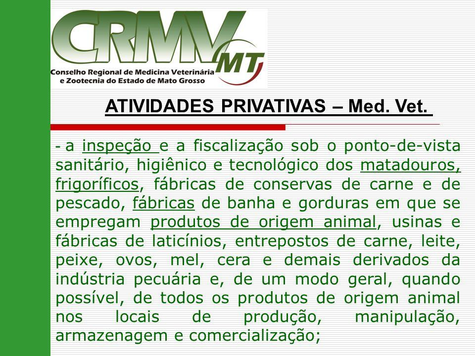 ATIVIDADES PRIVATIVAS – Med. Vet. - a inspeção e a fiscalização sob o ponto-de-vista sanitário, higiênico e tecnológico dos matadouros, frigoríficos,
