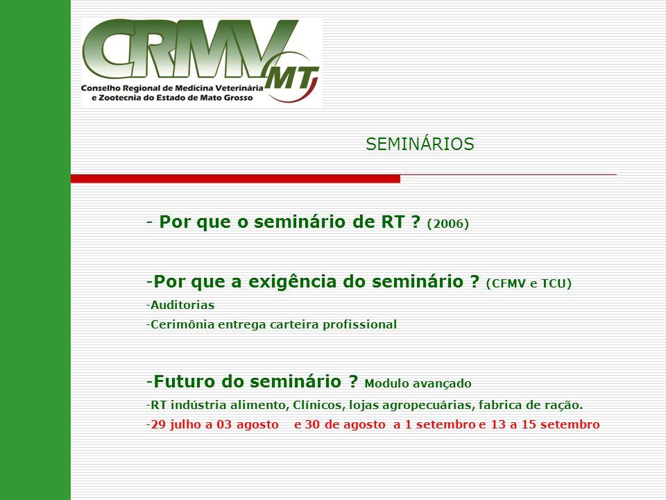 - Por que o seminário de RT ? (2006) -Por que a exigência do seminário ? (CFMV e TCU) -Auditorias -Cerimônia entrega carteira profissional -Futuro do
