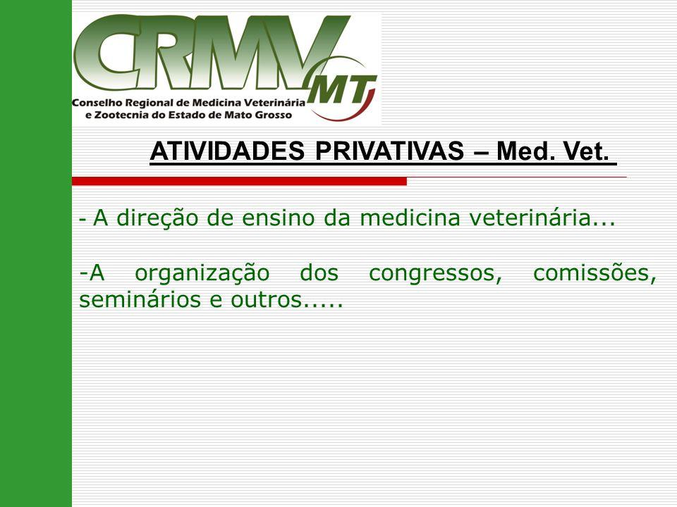 ATIVIDADES PRIVATIVAS – Med. Vet. - A direção de ensino da medicina veterinária... -A organização dos congressos, comissões, seminários e outros.....
