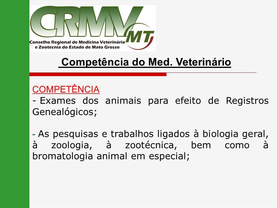 Competência do Med. Veterinário COMPETÊNCIA - Exames dos animais para efeito de Registros Genealógicos; - As pesquisas e trabalhos ligados à biologia