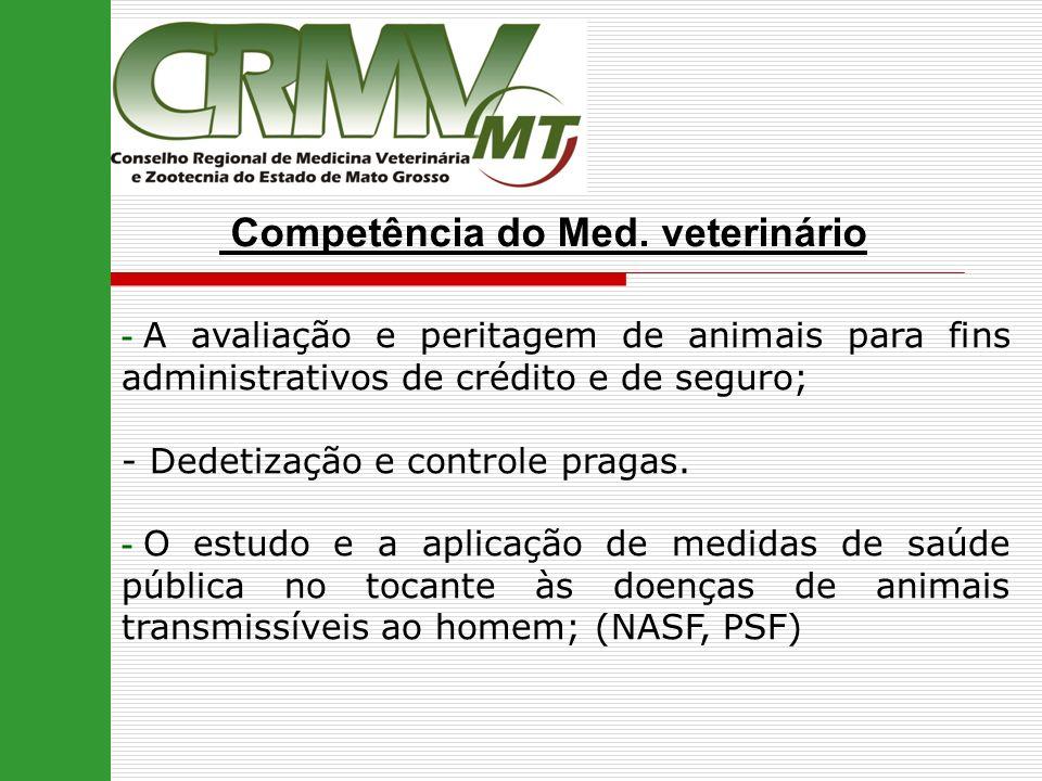 Competência do Med. veterinário - A avaliação e peritagem de animais para fins administrativos de crédito e de seguro; - Dedetização e controle pragas