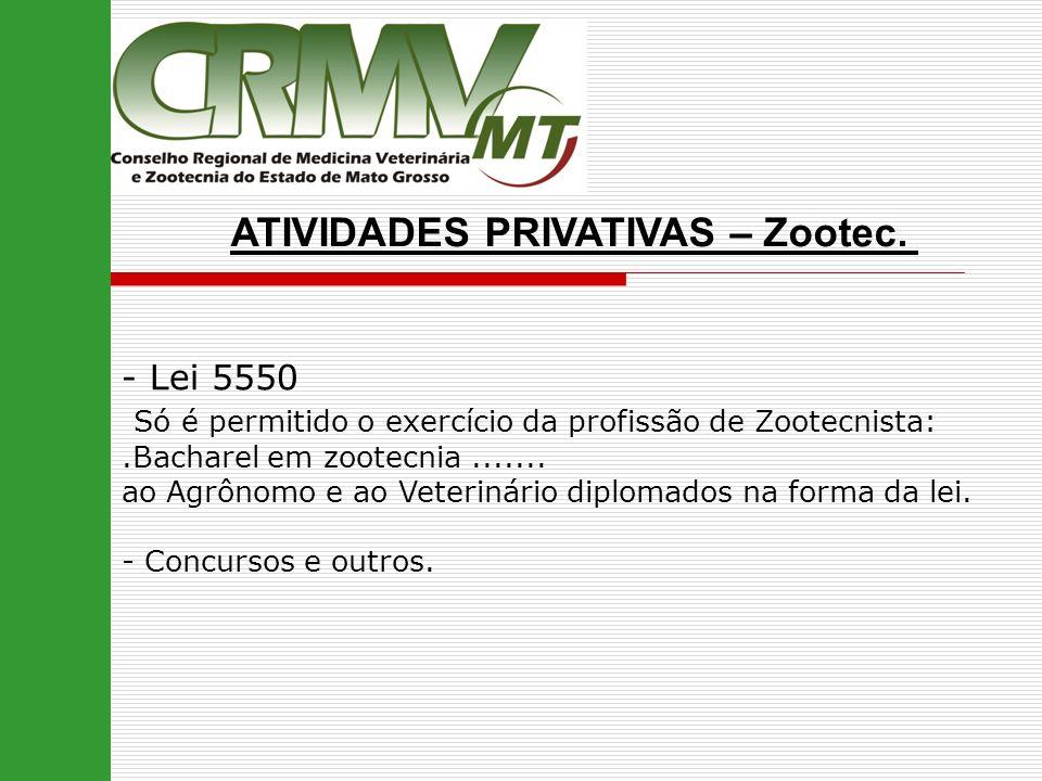 ATIVIDADES PRIVATIVAS – Zootec. - Lei 5550 Só é permitido o exercício da profissão de Zootecnista:.Bacharel em zootecnia....... ao Agrônomo e ao Veter