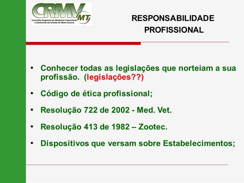 RESPONSABILIDADE PROFISSIONAL Conhecer todas as legislações que norteiam a sua profissão. (legislações??) Código de ética profissional; Resolução 722