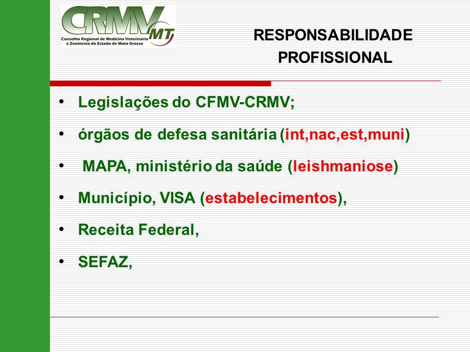 RESPONSABILIDADE PROFISSIONAL Legislações do CFMV-CRMV; órgãos de defesa sanitária (int,nac,est,muni) MAPA, ministério da saúde (leishmaniose) Municíp