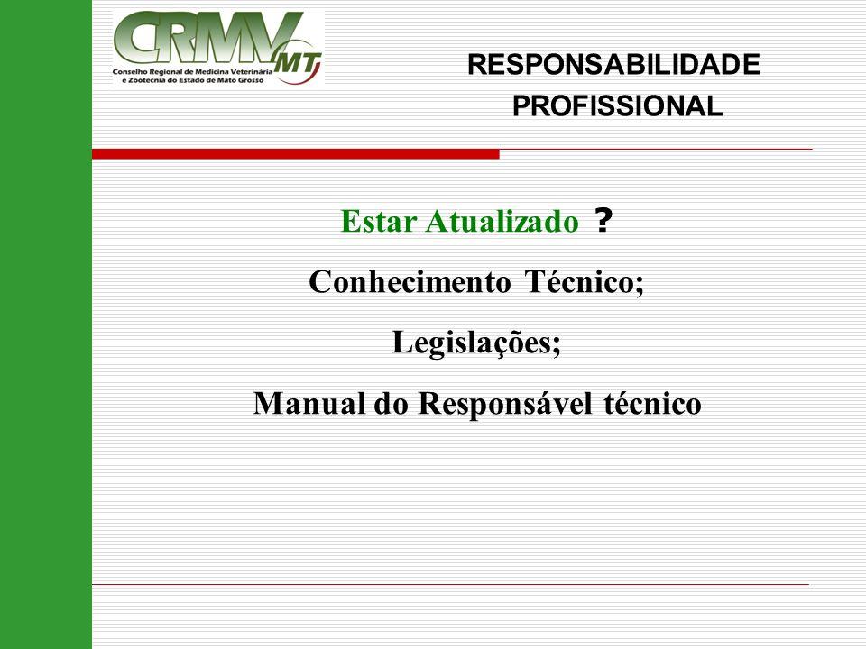 Estar Atualizado ? Conhecimento Técnico; Legislações; Manual do Responsável técnico RESPONSABILIDADE PROFISSIONAL