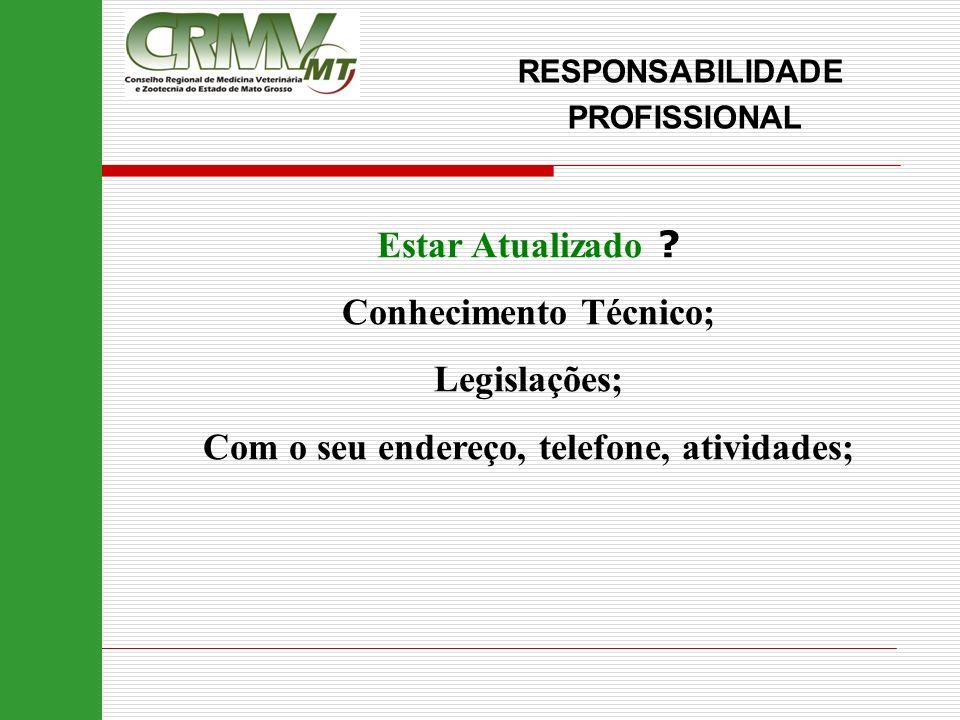 Estar Atualizado ? Conhecimento Técnico; Legislações; Com o seu endereço, telefone, atividades; RESPONSABILIDADE PROFISSIONAL