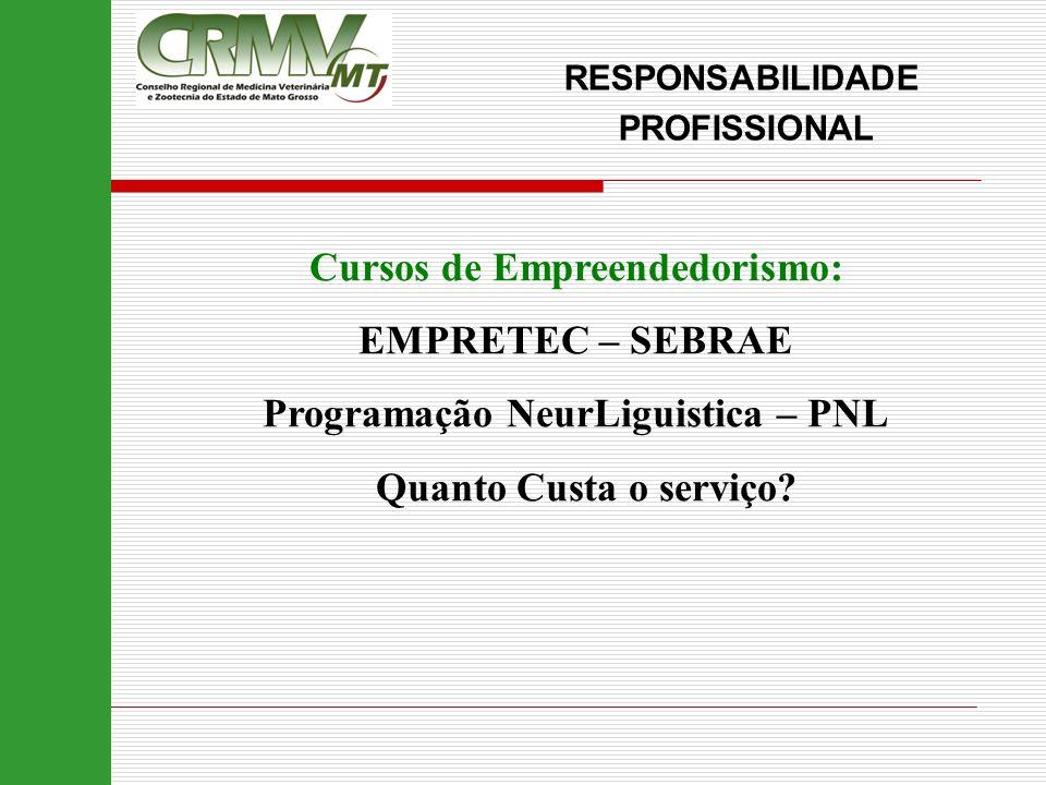 Cursos de Empreendedorismo: EMPRETEC – SEBRAE Programação NeurLiguistica – PNL Quanto Custa o serviço? RESPONSABILIDADE PROFISSIONAL