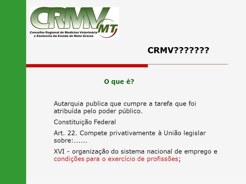 CRMV??????? O que é? Autarquia publica que cumpre a tarefa que foi atribuída pelo poder público. Constituição Federal Art. 22. Compete privativamente