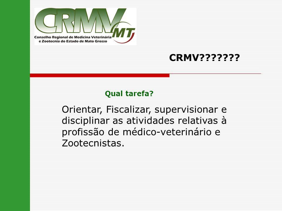CRMV??????? Qual tarefa? Orientar, Fiscalizar, supervisionar e disciplinar as atividades relativas à profissão de médico-veterinário e Zootecnistas.