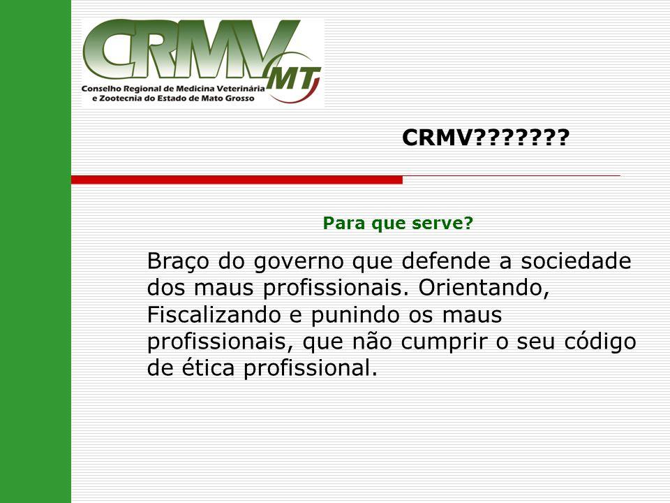 CRMV??????? Para que serve? Braço do governo que defende a sociedade dos maus profissionais. Orientando, Fiscalizando e punindo os maus profissionais,