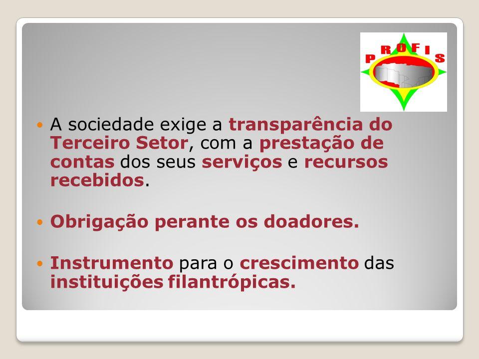 A sociedade exige a transparência do Terceiro Setor, com a prestação de contas dos seus serviços e recursos recebidos. Obrigação perante os doadores.
