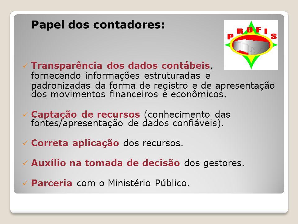 Papel dos contadores: Transparência dos dados contábeis, fornecendo informações estruturadas e padronizadas da forma de registro e de apresentação dos