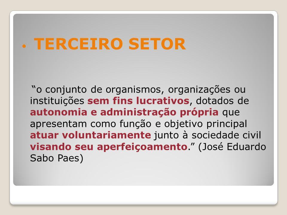 TERCEIRO SETOR o conjunto de organismos, organizações ou instituições sem fins lucrativos, dotados de autonomia e administração própria que apresentam