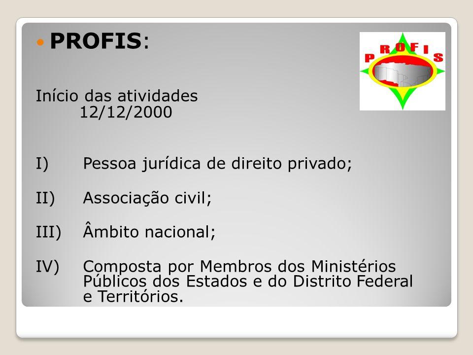 PROFIS: Início das atividades 12/12/2000 I) Pessoa jurídica de direito privado; II)Associação civil; III)Âmbito nacional; IV)Composta por Membros dos
