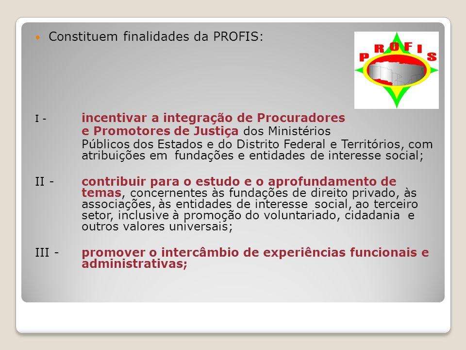 Constituem finalidades da PROFIS: I - incentivar a integração de Procuradores e Promotores de Justiça dos Ministérios Públicos dos Estados e do Distri