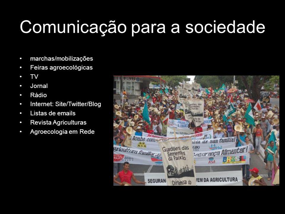marchas/mobilizações Feiras agroecológicas TV Jornal Rádio Internet: Site/Twitter/Blog Listas de emails Revista Agriculturas Agroecologia em Rede