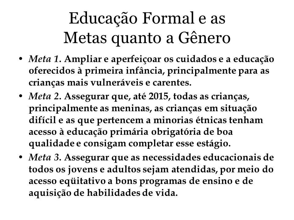 Educação Formal e as Metas quanto a Gênero Meta 1. Ampliar e aperfeiçoar os cuidados e a educação oferecidos à primeira infância, principalmente para