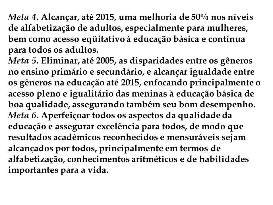 Meta 4. Alcançar, até 2015, uma melhoria de 50% nos níveis de alfabetização de adultos, especialmente para mulheres, bem como acesso eqüitativo à educ