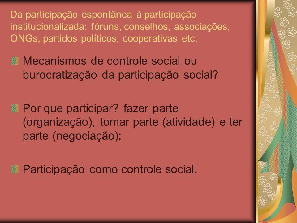 Da participação espontânea à participação institucionalizada: fóruns, conselhos, associações, ONGs, partidos políticos, cooperativas etc.