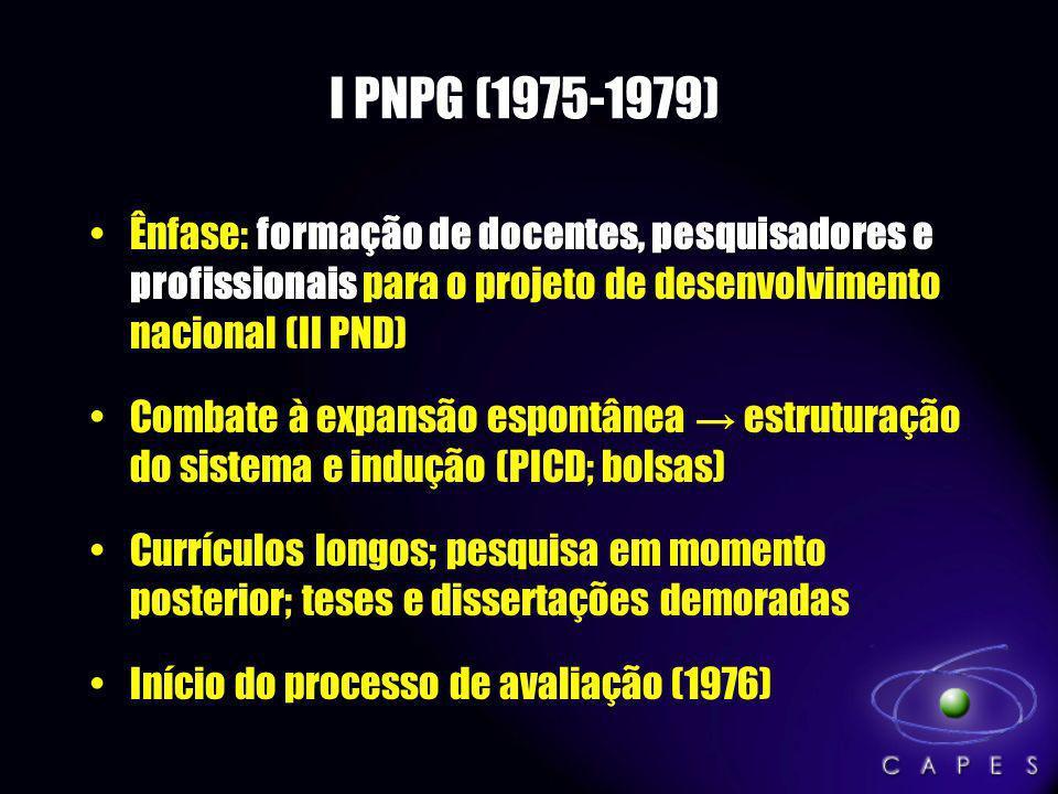 I PNPG (1975-1979) formação de docentes, pesquisadores e profissionaisÊnfase: formação de docentes, pesquisadores e profissionais para o projeto de de