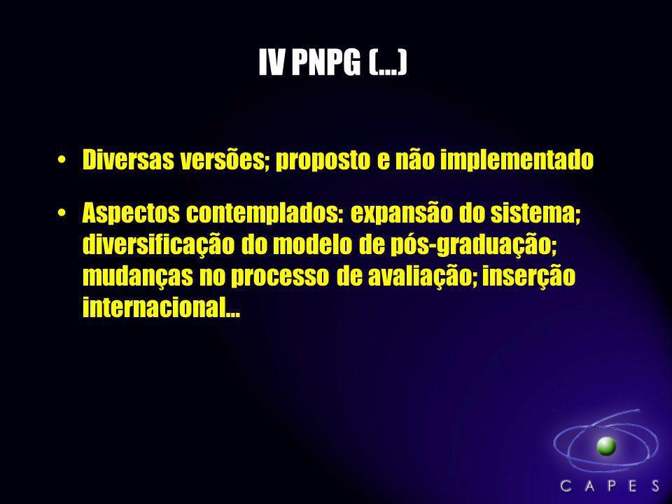 IV PNPG (…) Diversas versões; proposto e não implementado Aspectos contemplados: expansão do sistema; diversificação do modelo de pós-graduação; mudan