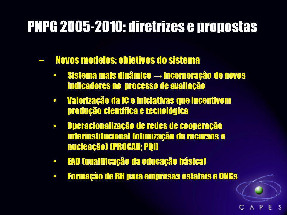 PNPG 2005-2010: diretrizes e propostas –Novos modelos: objetivos do sistema Sistema mais dinâmico incorporação de novos indicadores no processo de ava