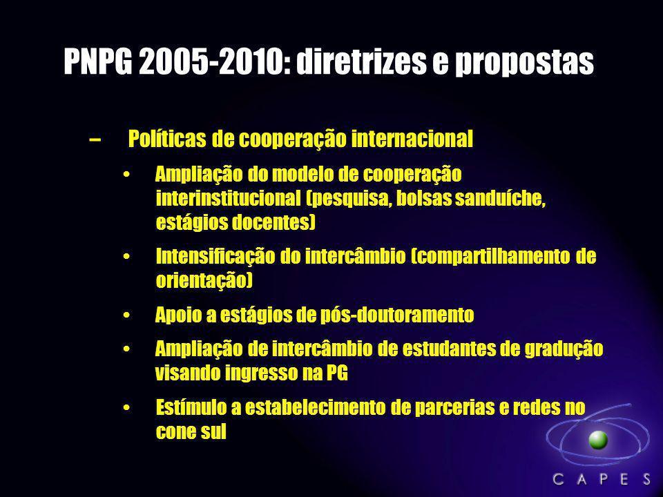 PNPG 2005-2010: diretrizes e propostas –Políticas de cooperação internacional Ampliação do modelo de cooperação interinstitucional (pesquisa, bolsas s