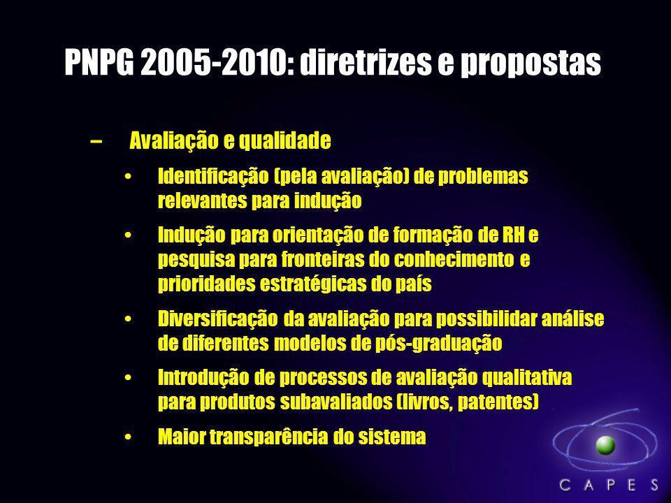 PNPG 2005-2010: diretrizes e propostas –Avaliação e qualidade Identificação (pela avaliação) de problemas relevantes para indução Indução para orienta