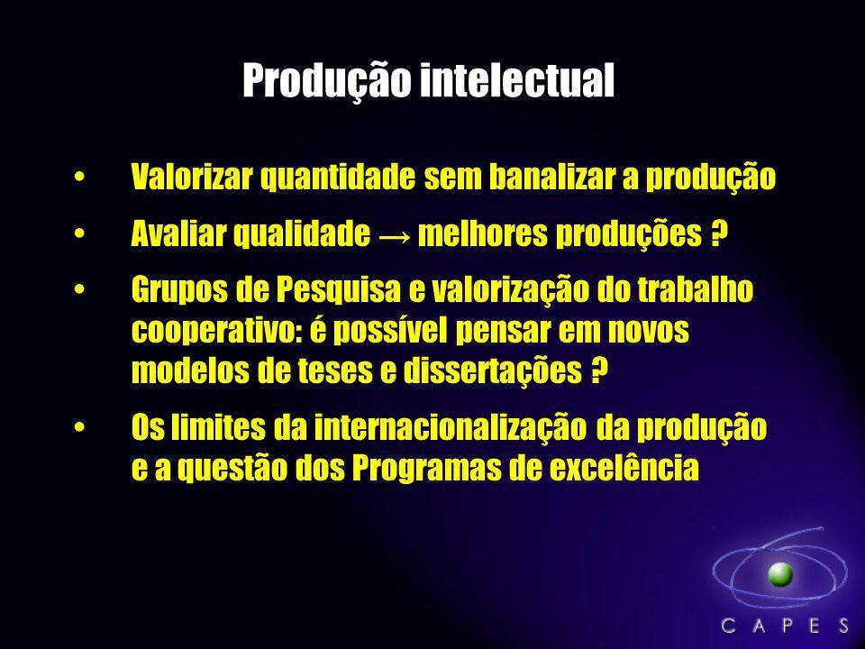 Produção intelectual Valorizar quantidade sem banalizar a produção Avaliar qualidade melhores produções ? Grupos de Pesquisa e valorização do trabalho