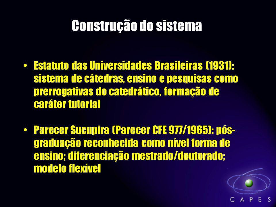 Construção do sistema Estatuto das Universidades Brasileiras (1931): sistema de cátedras, ensino e pesquisas como prerrogativas do catedrático, formaç