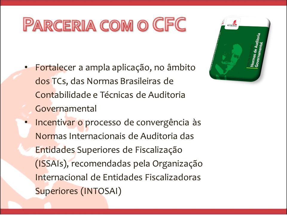 Fortalecer a ampla aplicação, no âmbito dos TCs, das Normas Brasileiras de Contabilidade e Técnicas de Auditoria Governamental Incentivar o processo de convergência às Normas Internacionais de Auditoria das Entidades Superiores de Fiscalização (ISSAIs), recomendadas pela Organização Internacional de Entidades Fiscalizadoras Superiores (INTOSAI)