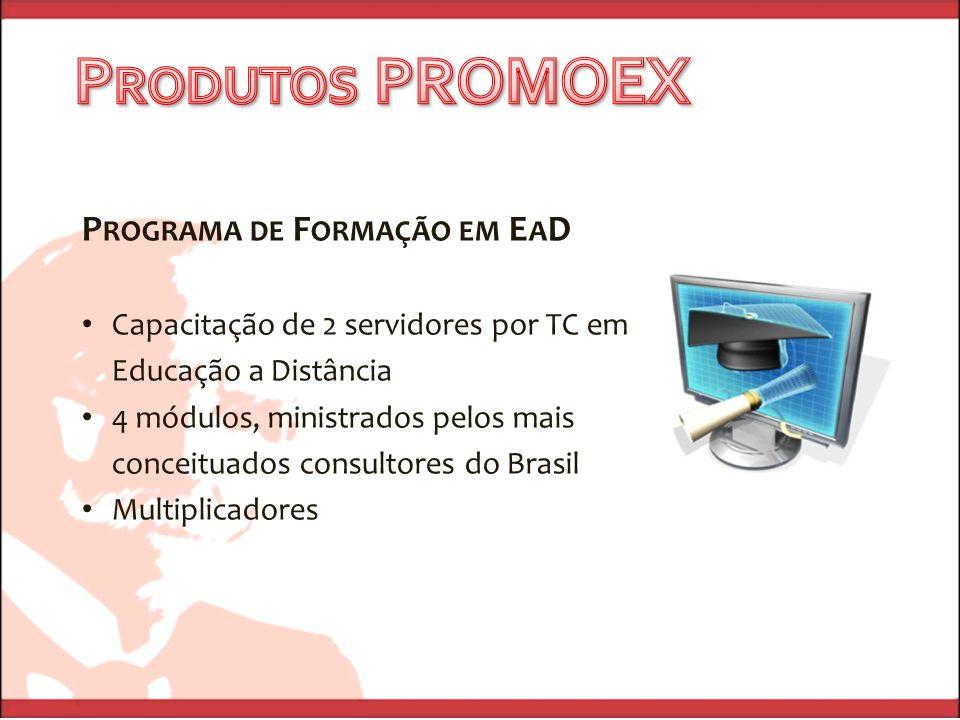 P ROGRAMA DE F ORMAÇÃO EM E A D Capacitação de 2 servidores por TC em Educação a Distância 4 módulos, ministrados pelos mais conceituados consultores do Brasil Multiplicadores