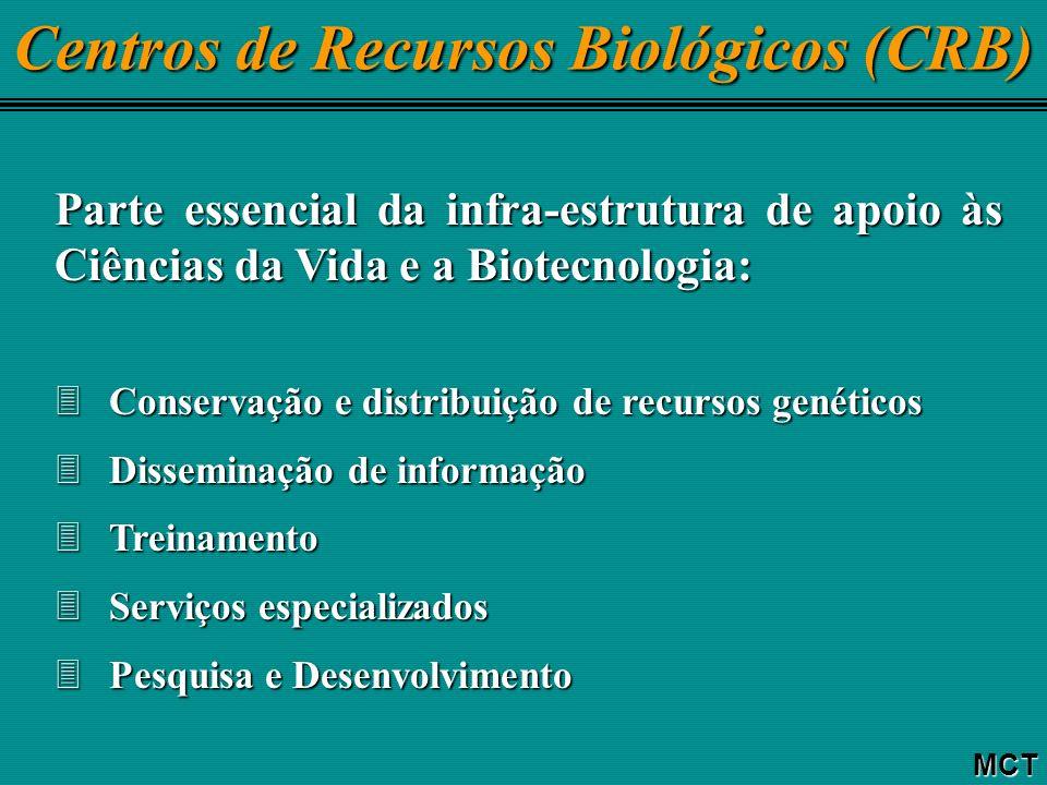 Centros de Recursos Biológicos (CRB) MCT Parte essencial da infra-estrutura de apoio às Ciências da Vida e a Biotecnologia: 3Conservação e distribuição de recursos genéticos 3Disseminação de informação 3Treinamento 3Serviços especializados 3Pesquisa e Desenvolvimento