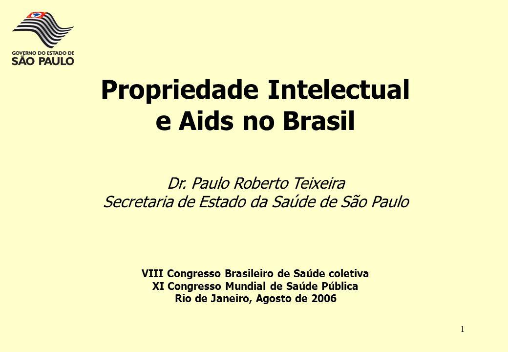 1 Propriedade Intelectual e Aids no Brasil Dr. Paulo Roberto Teixeira Secretaria de Estado da Saúde de São Paulo VIII Congresso Brasileiro de Saúde co
