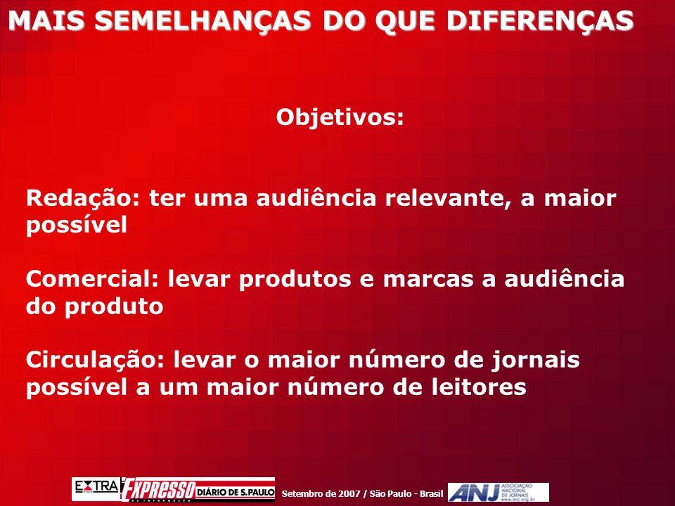 Setembro de 2007 / São Paulo - Brasil Objetivos: Redação: ter uma audiência relevante, a maior possível Comercial: levar produtos e marcas a audiência do produto Circulação: levar o maior número de jornais possível a um maior número de leitores MAIS SEMELHANÇAS DO QUE DIFERENÇAS