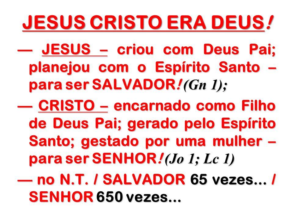 JESUS CRISTO ERA DEUS! JESUS – criou com Deus Pai; planejou com o Espírito Santo – para ser SALVADOR! (Gn 1); JESUS – criou com Deus Pai; planejou com
