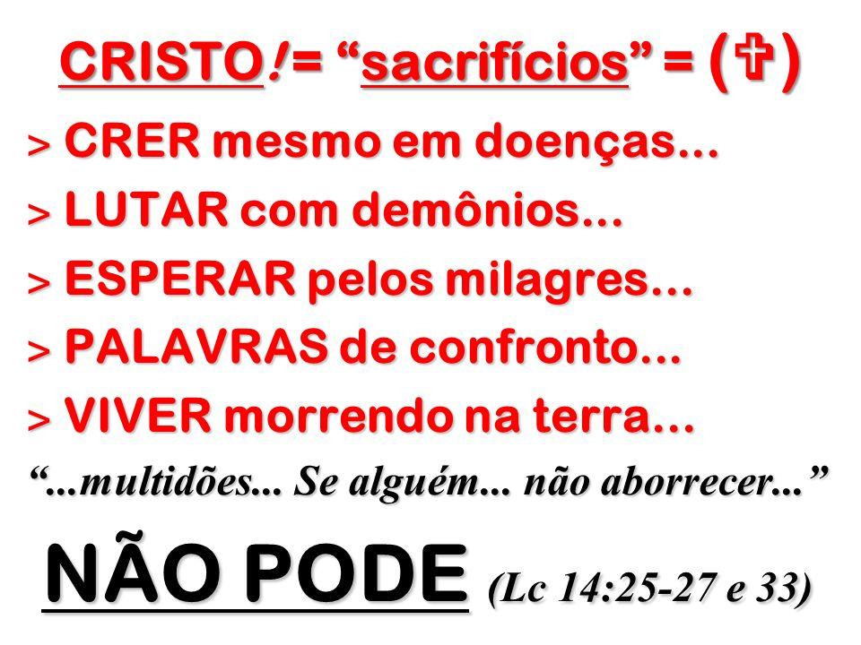 CRISTO! = sacrifícios = ( ) ˃ CRER mesmo em doenças... ˃ LUTAR com demônios... ˃ ESPERAR pelos milagres... ˃ PALAVRAS de confronto... ˃ VIVER morrendo