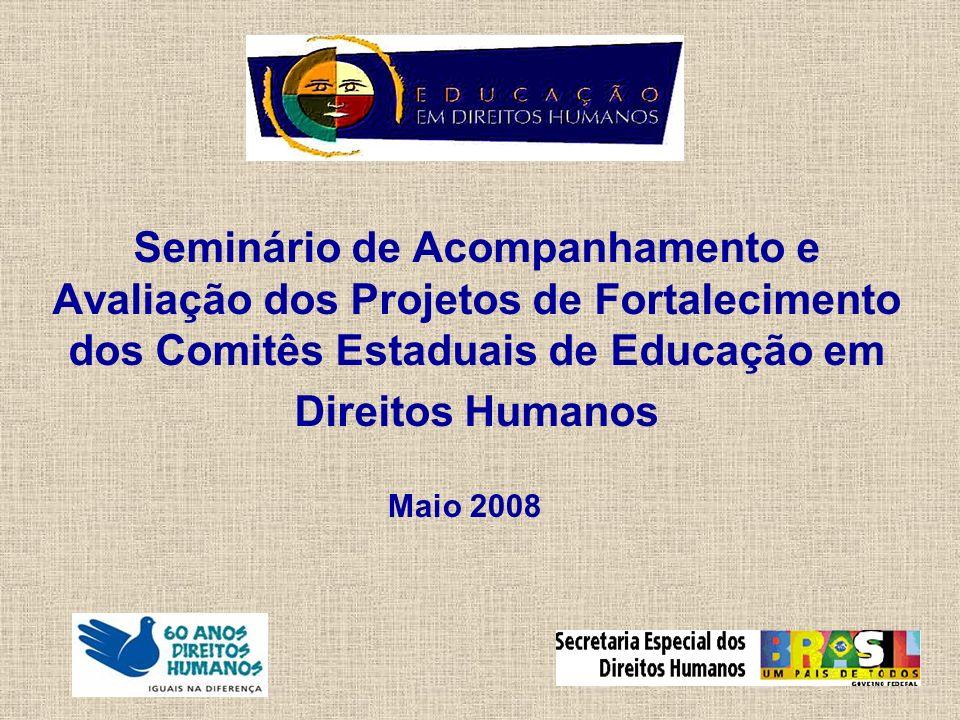 Seminário de Acompanhamento e Avaliação dos Projetos de Fortalecimento dos Comitês Estaduais de Educação em Direitos Humanos Maio 2008