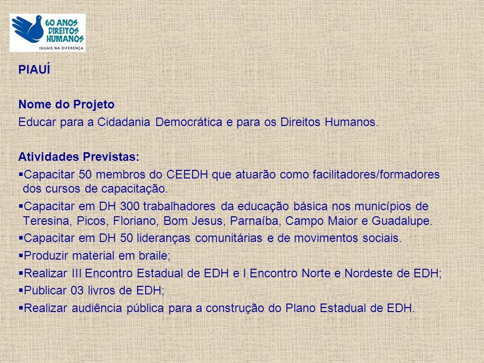 PIAUÍ Nome do Projeto Educar para a Cidadania Democrática e para os Direitos Humanos.