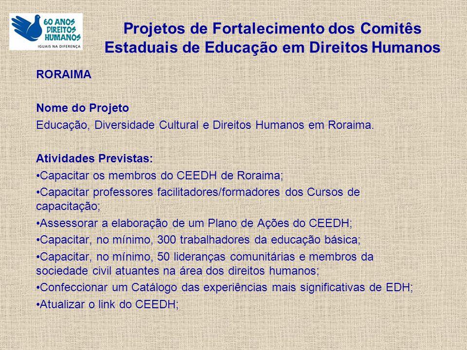 Projetos de Fortalecimento dos Comitês Estaduais de Educação em Direitos Humanos RORAIMA Nome do Projeto Educação, Diversidade Cultural e Direitos Humanos em Roraima.
