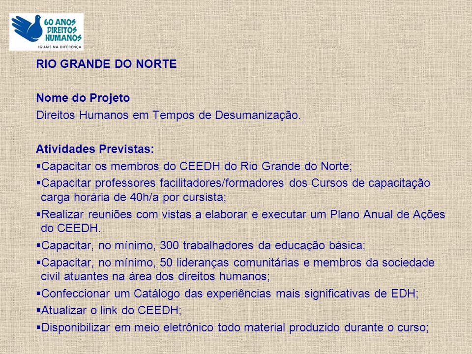 RIO GRANDE DO NORTE Nome do Projeto Direitos Humanos em Tempos de Desumanização.