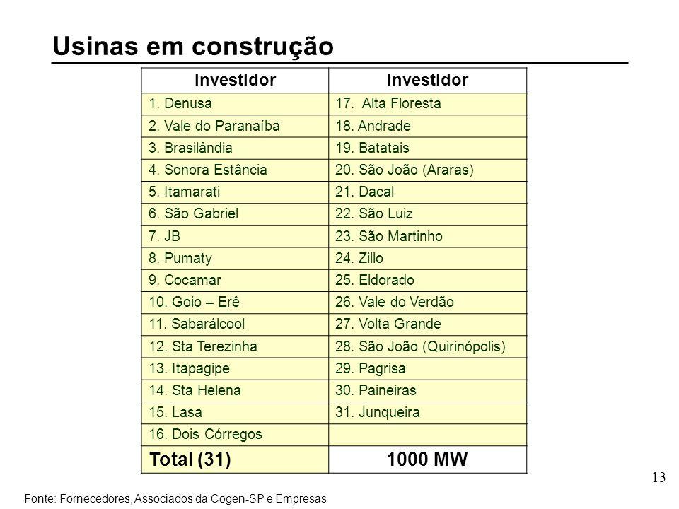 13 Investidor 1. Denusa17. Alta Floresta 2. Vale do Paranaíba18.